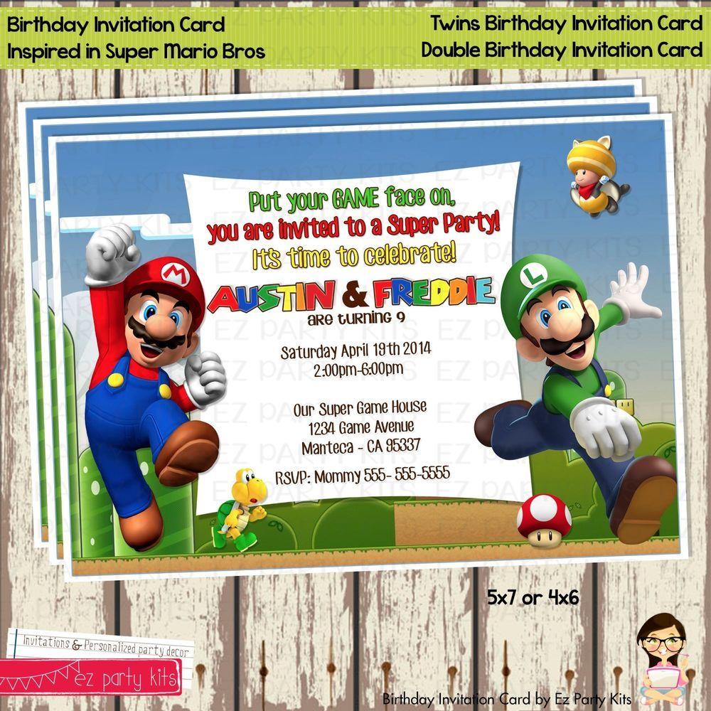 Super Mario Bros Twins Birthday Invitation Card Digital File