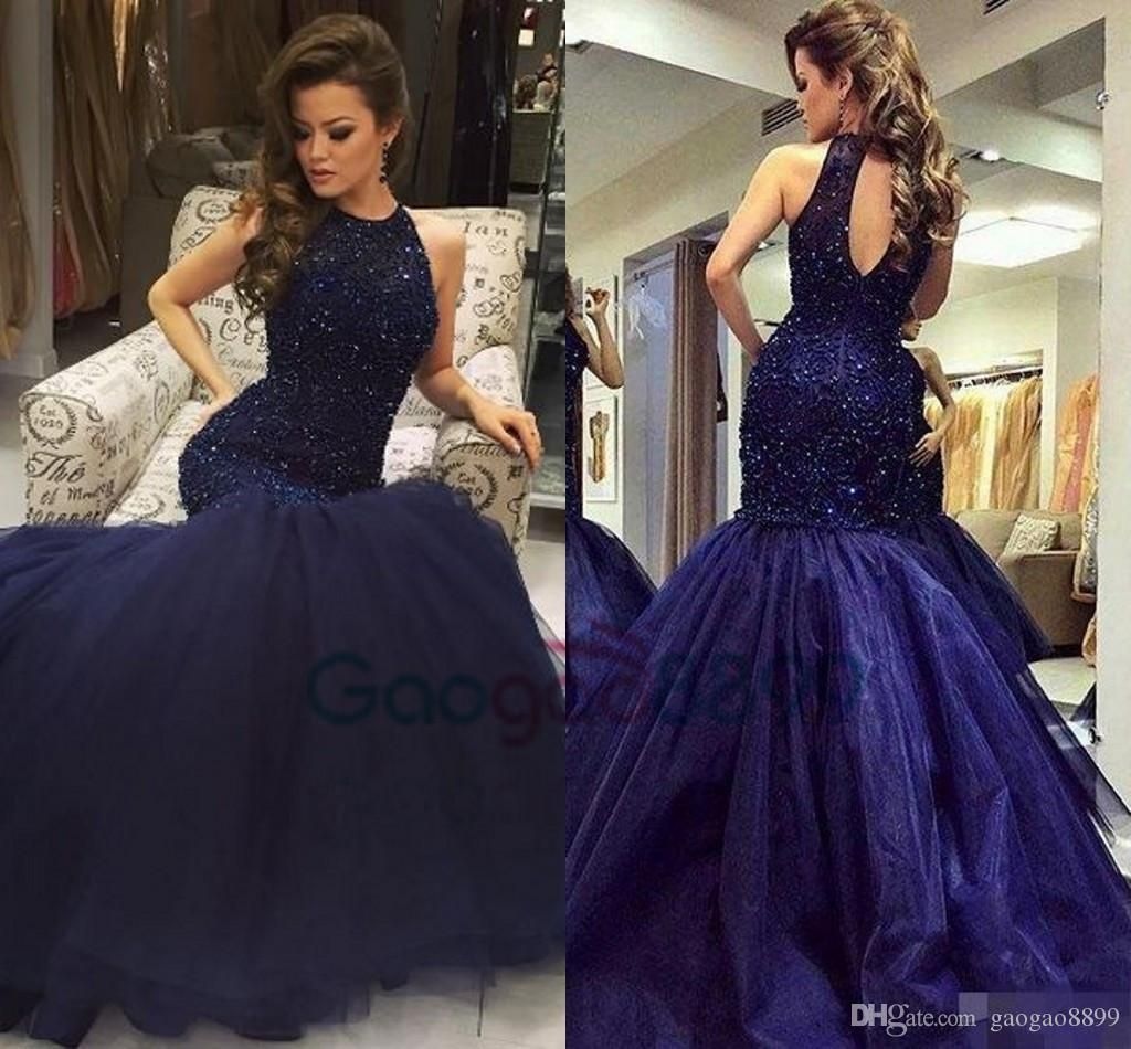 Navy Blue Evening Party Formal Wear Gowns 2017 Modest Heavy Beaded Top Long Mermaid Keyhole Neck Luxury Occasion Hot Prom Dress Prom Dresses Prom Dresses 2017