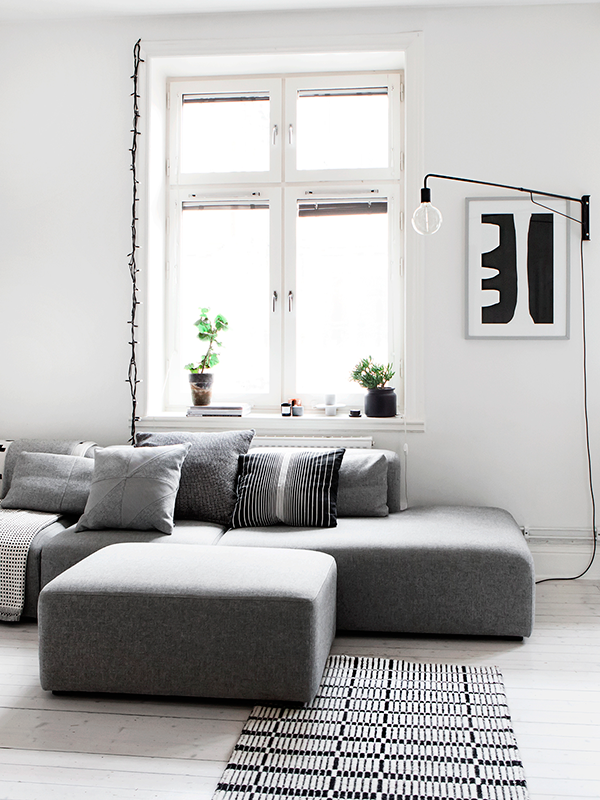 Monochrome Apartment Livingroom Pinterest Idee Deco Idée - Canapé 3 places pour idees decoration interieur appartement