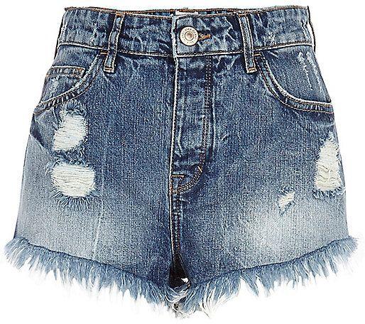 River Island Womens Mid wash ripped denim high waisted shorts
