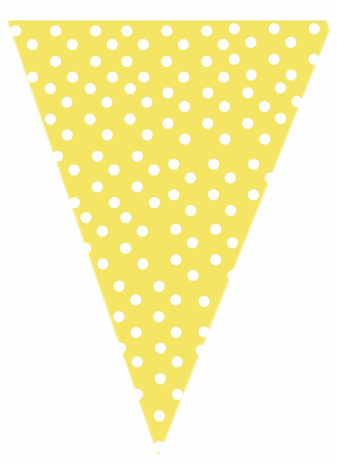 Free yellow polkadot printable banner cristening pinterest