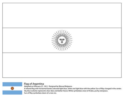 Argentina Flag Coloring Page Con Imagenes Bandera Argentina