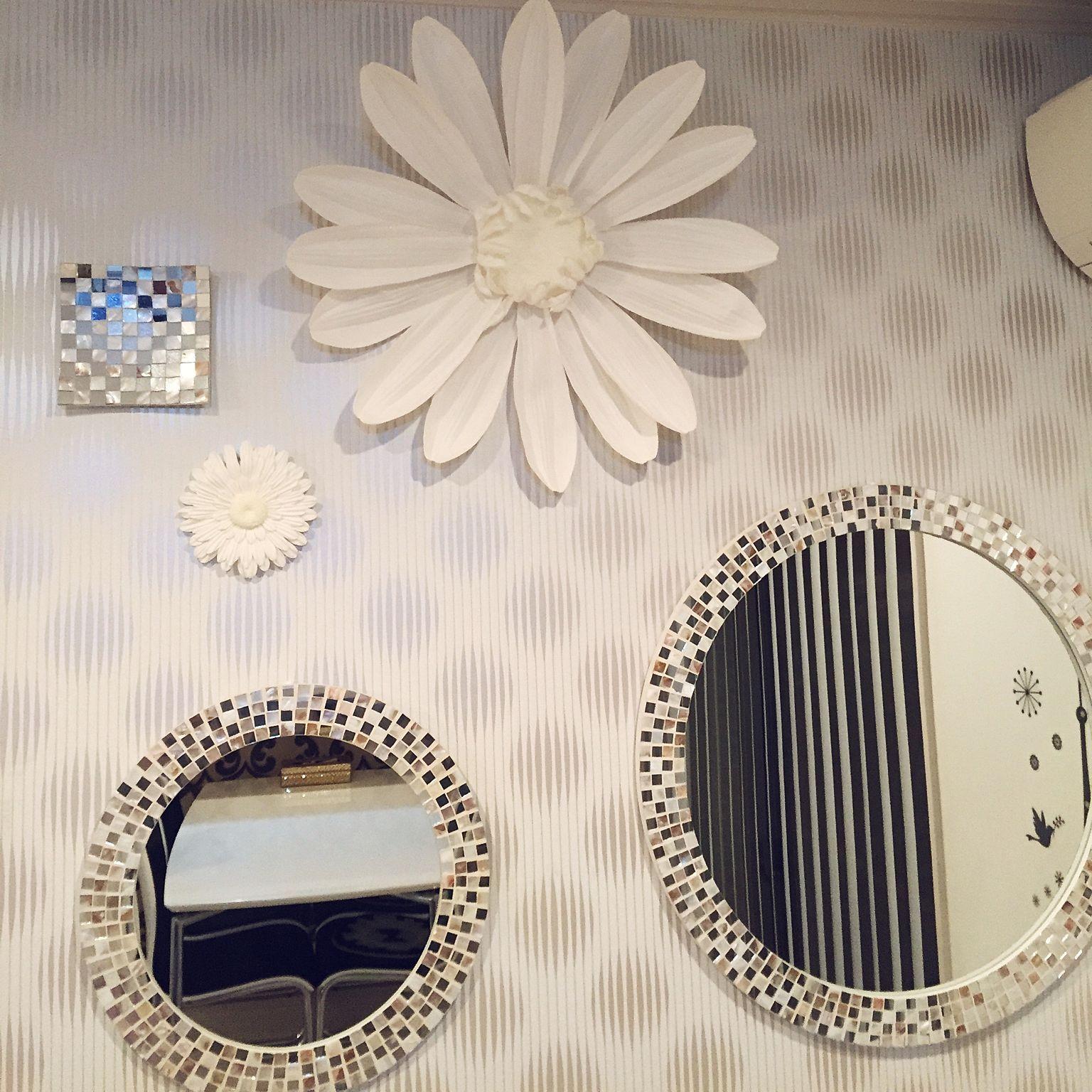 壁 天井 ウォールフラワー フランフラン 壁掛けオブジェ ミラー壁掛け