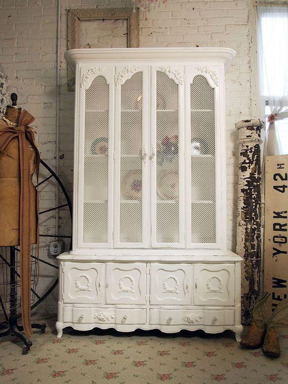 painted cottage romantic french shabby white china cabinet cc268 rh pinterest com