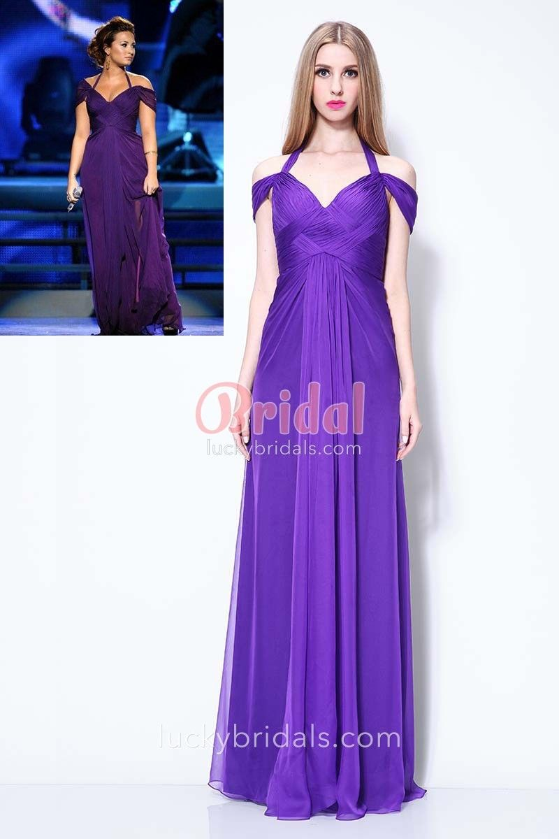 7c549ce8c74 Demi Lovato purple prom dress features off-the-shoulder V-neckline with  halter