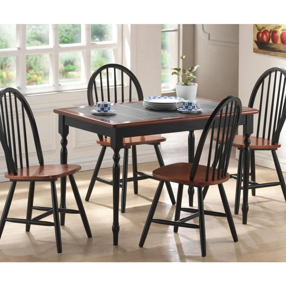 Boraam 5 Piece Black And Cherry Dining Set 80530 The Home Depot Kitchen Table Settings Rectangular Dining Set Modern Dining Room Set