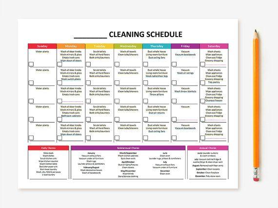 Printable Monthly Cleaning Schedule Monthly cleaning schedule - weekly schedule template