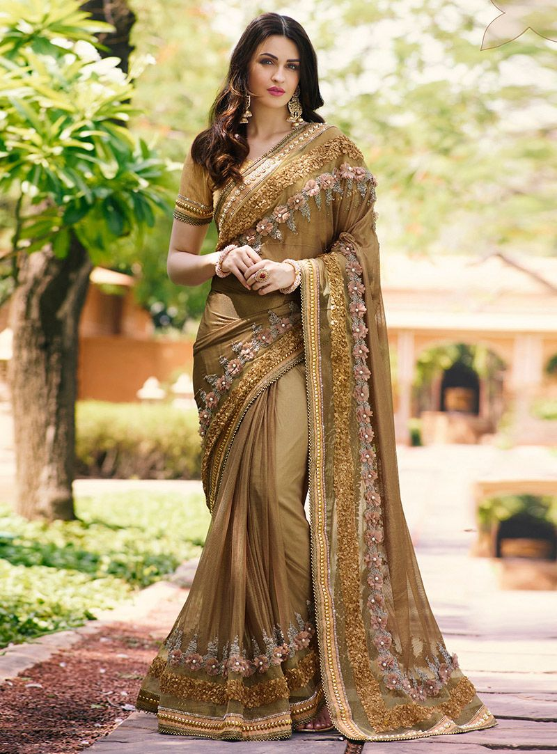 ef1d597d2b07b0 Buy Brown Net Party Wear Saree 96289 with blouse online at lowest price  from vast collection of sarees at m.indianclothstore.c.