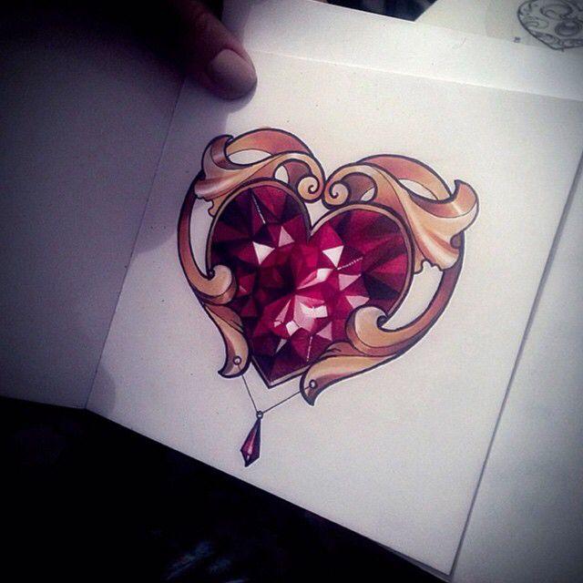 Diamond Heart I D Want The Gold To Look More Realistic Jewel Tattoo Gem Tattoo Diamond Heart Tattoo