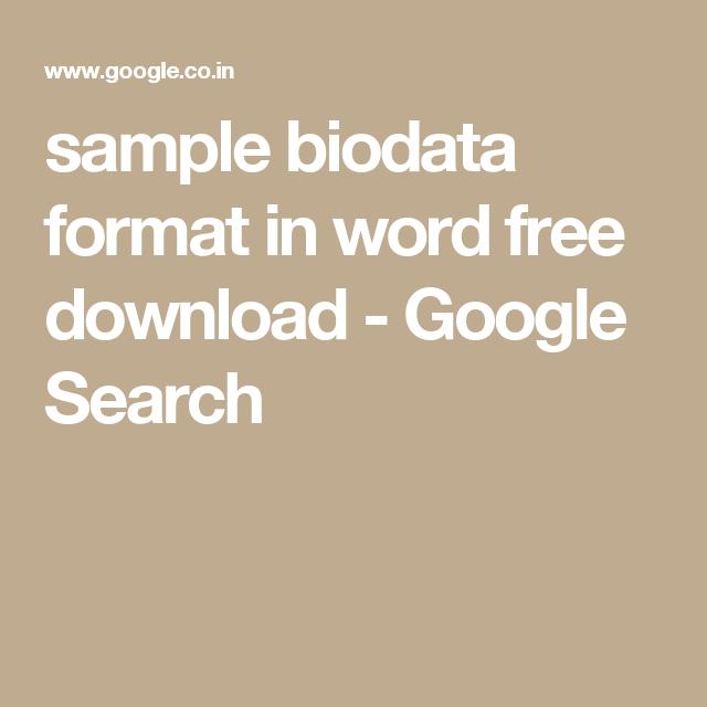 sample biodata format in word free download google search
