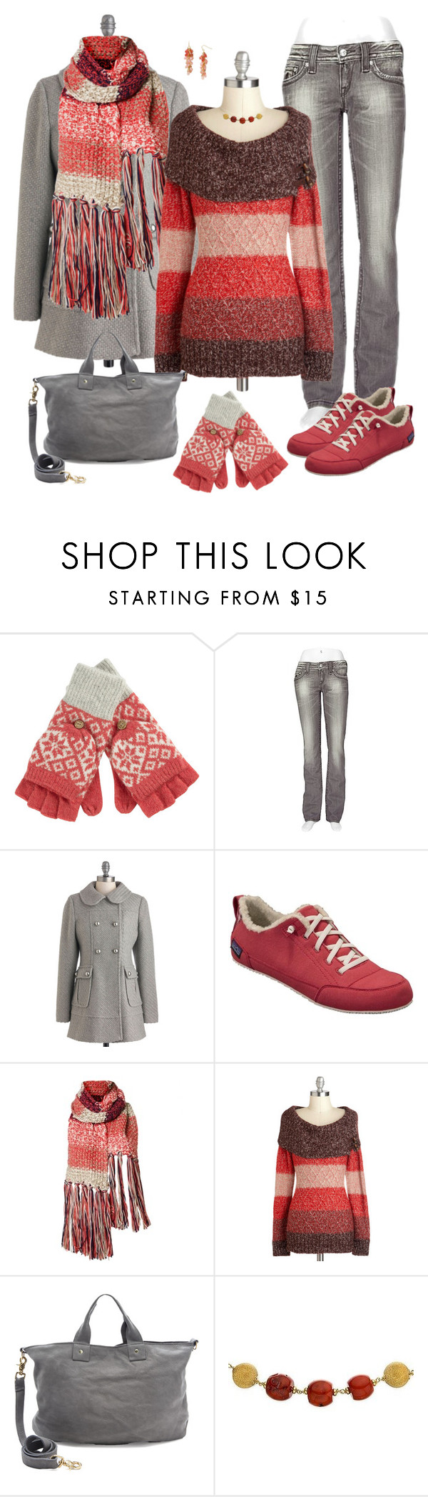 """""""It Makes Me Feel Warm and Fuzzy"""" by exaybachay ❤ liked on Polyvore featuring Fat Face, Rock Revival, Patagonia, Clare V., Ice, R.J. Graziano, ombre, scarf, snowflake and mittens"""