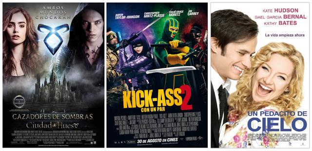 Nuestros #estrenos de la semana están protagonizados por: - Cazadores de sombras: ciudad de hueso. - Kick-Ass 2 - Un pedacito de cielo