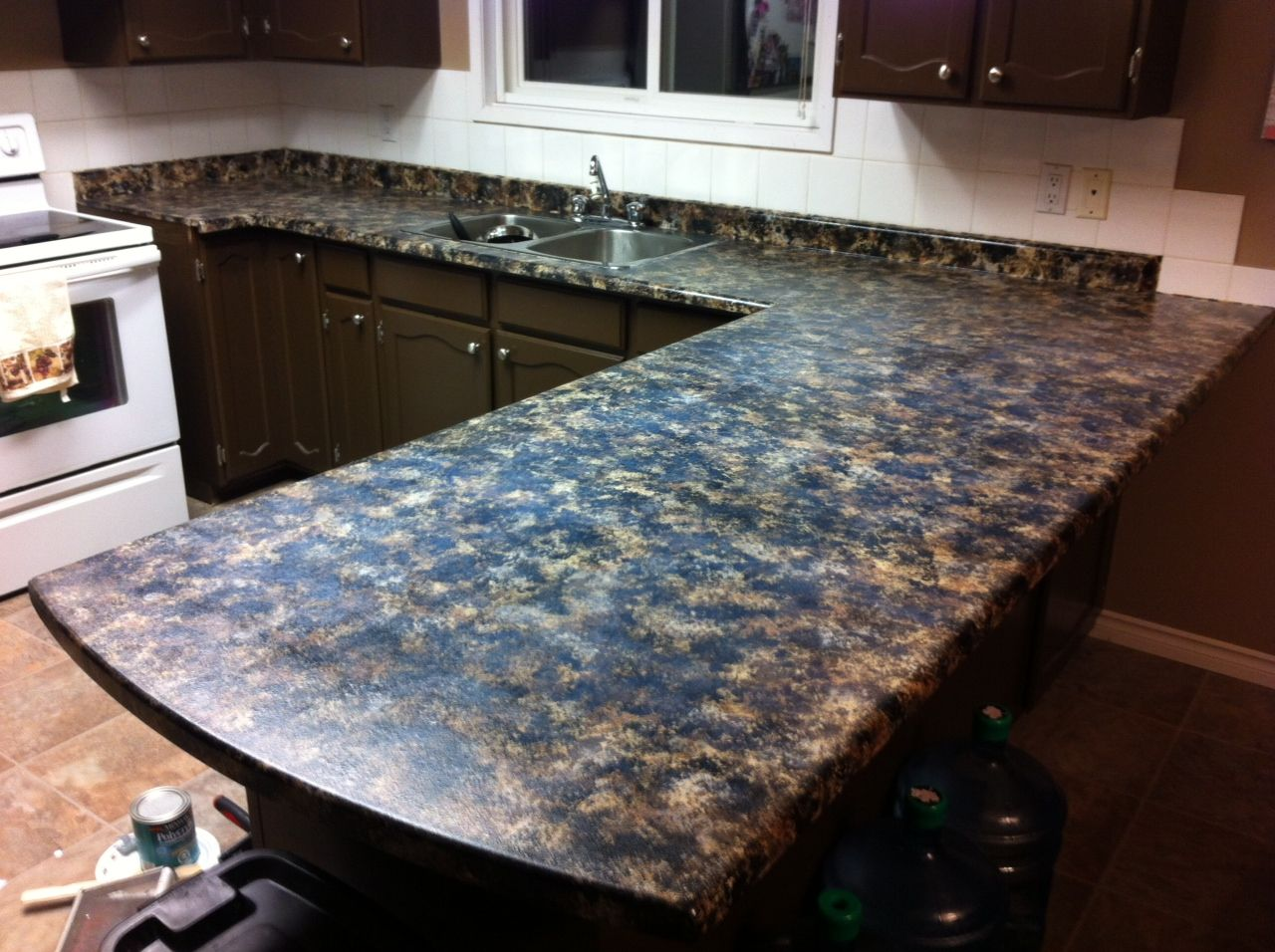 Diy Faux Granite Countertops Acrylic Paint And A Sea Sponge Cover With Polyacrylic Clear I