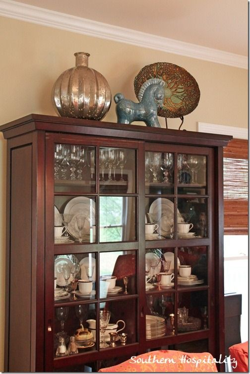 Living Room Makeover On A Budget China Cabinet Decor Top Of