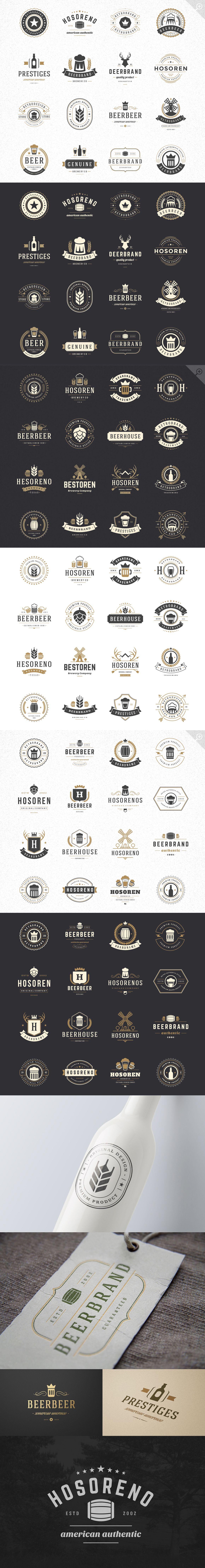 45 Beer brewery Retro Vintage Logotypes set. Vector design elements, business signs, logos, identity, labels, badges, stamps and other #design Download: https://creativemarket.com/VasyaKo/374643-45-Beer-Logotypes-and-Badges?u=ksioks