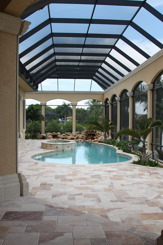 Swiming Pools Pool Enclosure With Patio Furniture