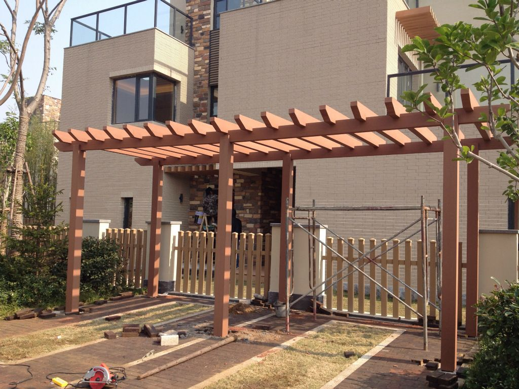 Low cost wood plastic pergola supplier wpc landscape for Low price decking