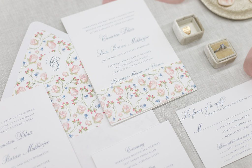 Custom Watercolor Pattern and Monogram for Classic