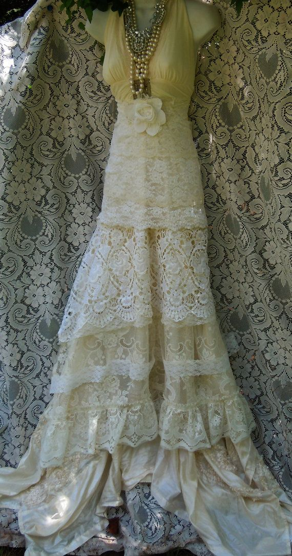 Cream wedding dress boho mermaid crochet lace vintage for Romantic vintage lace wedding dresses