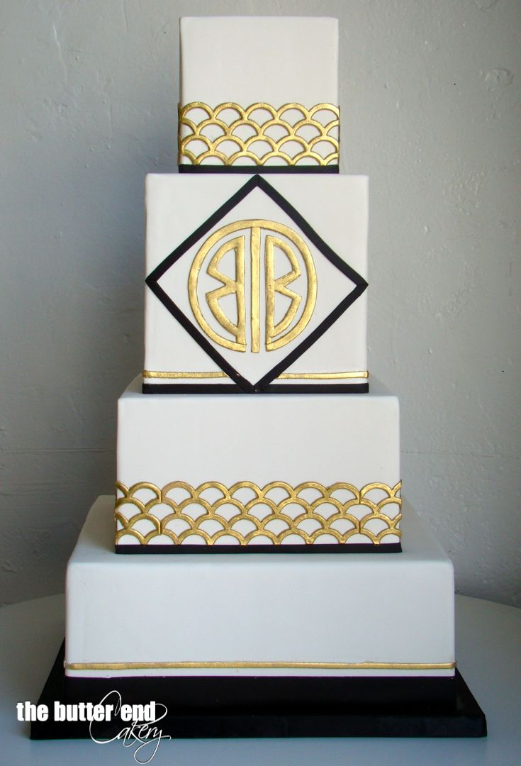 square black and white wedding cakes pictures%0A Art deco black  white and gold wedding cake with custom monogram by The  Butter End