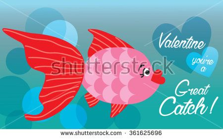 Pretty Pink and Red Valentine Fish Valentine You're A Great Catch - stock vector