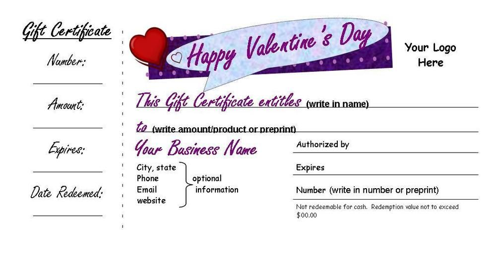 Valentine\'s Day Customized Gift Certificates, Small Businesses, 3 ...