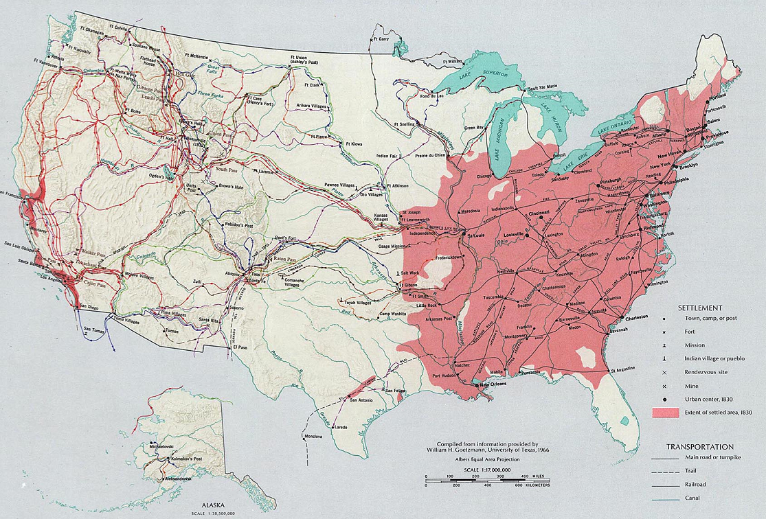 Settled Areas of the United States 1830