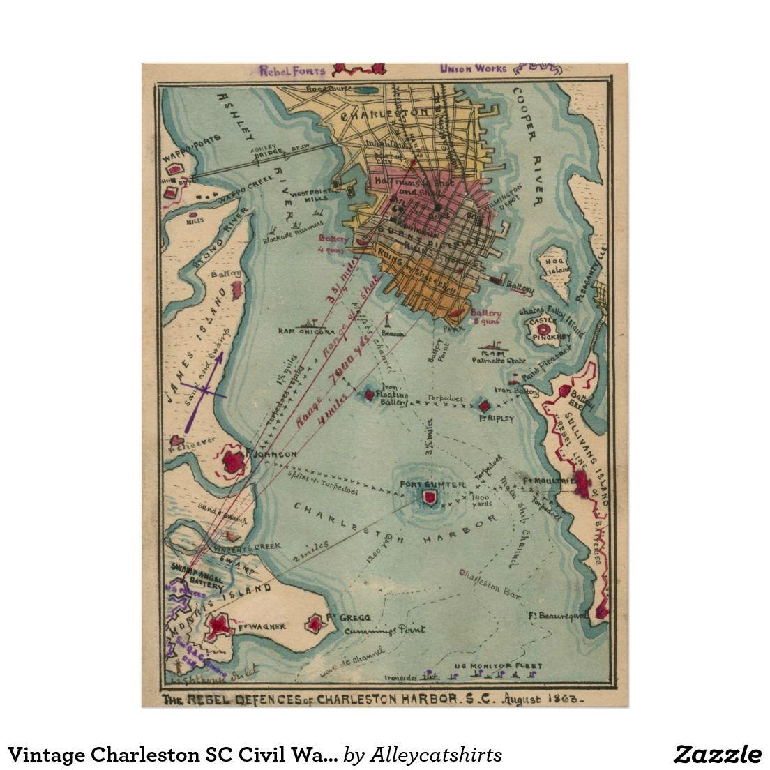 Vintage Charleston SC Civil War Map Poster Vintage Map - Sc maps