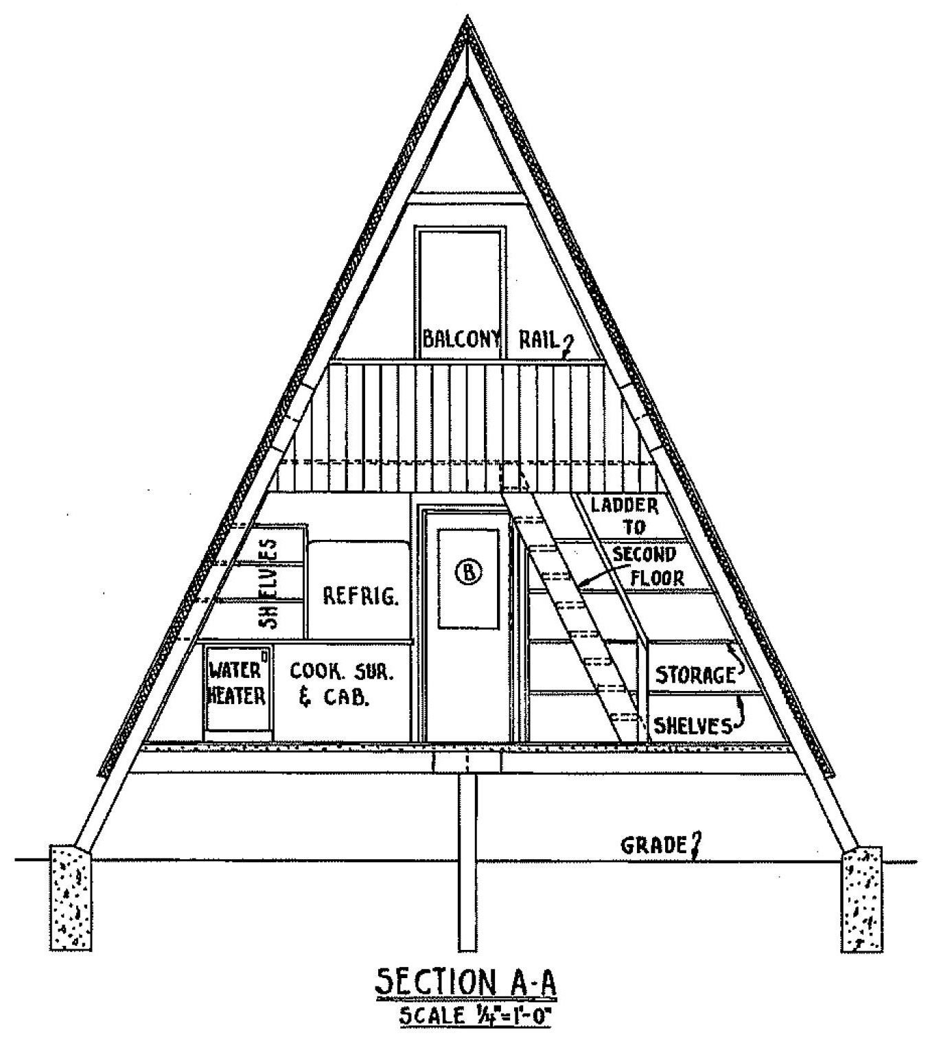 Http Free Woodworking Plans Org Images A Frame House 5965 A Frame House Cross Section A O Jpg A Frame H A Frame Cabin Plans A Frame House Plans A Frame House