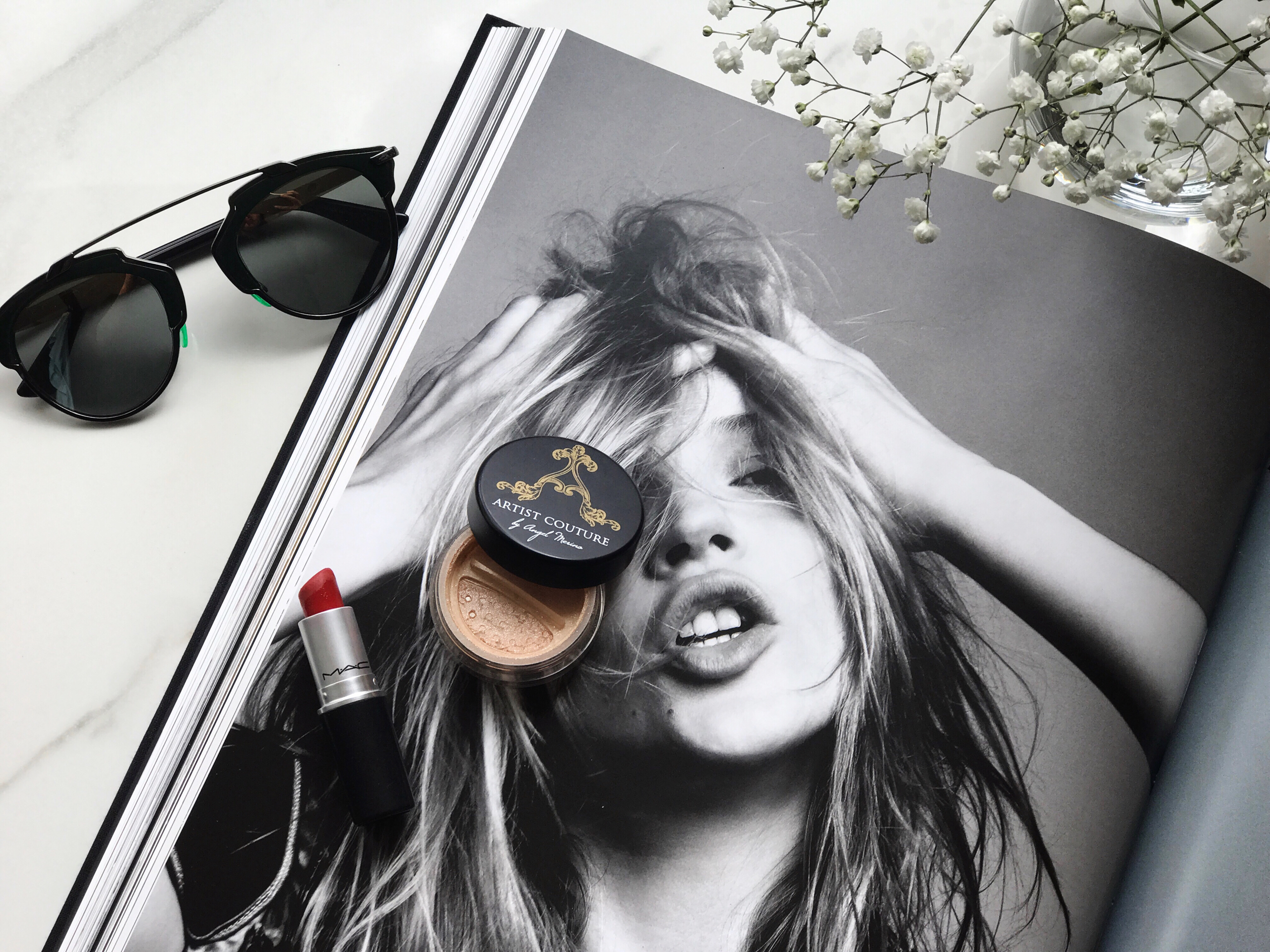 Flat Lay Dior Sunglasses Kate Moss Coffee Table Book Mac