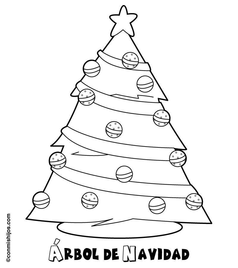 Árbol de Navidad para imprimir y colorear. Dibujos navideños para ...