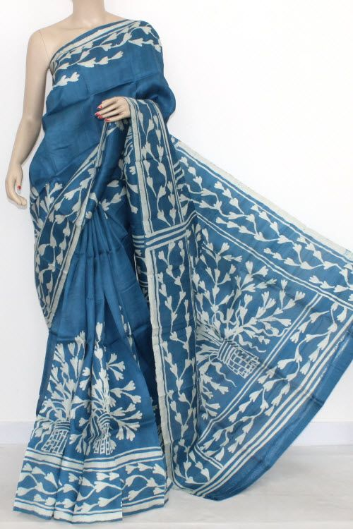 92e5ca3502 Blue Designer Batik Print Double Knitted Bishnupuri Pure Silk Saree (With  Blouse) 13833