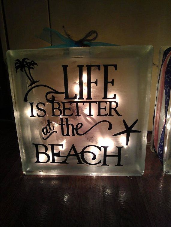 Beach Themed Glass Block With Lights Glass Block Crafts Glass