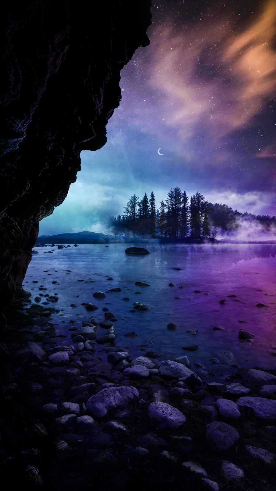 Night Lake Sky View - iPhone Wallpapers