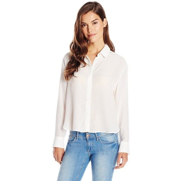 French Connection Women's Super Silk Top Long Sleeve Buttondown Top ($44) ❤ liked on Polyvore featuring tops, white long sleeve top, long sleeve tops, button down top, button up tops and french connection top