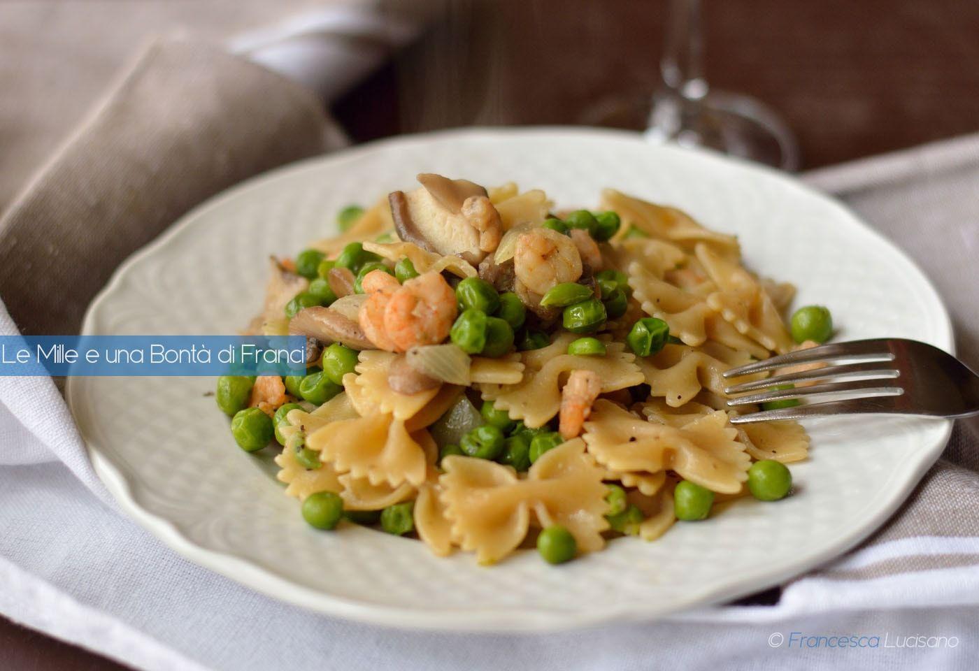 Ricetta pasta con piselli e gamberetti