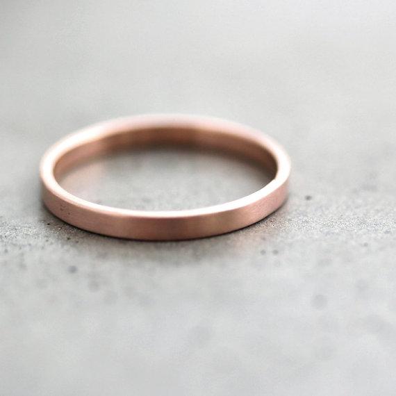 Ladies Wedding Band Women S Slim Wedding Ring 2mm Flat Etsy Pink Gold Wedding Rings Gold Engagement Ring Designs Gold Wedding Rings