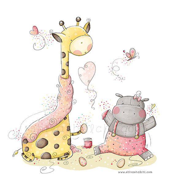 Kinder illustration kinderhort s es baby nilpferd und - Kinderzimmergestaltung baby ...