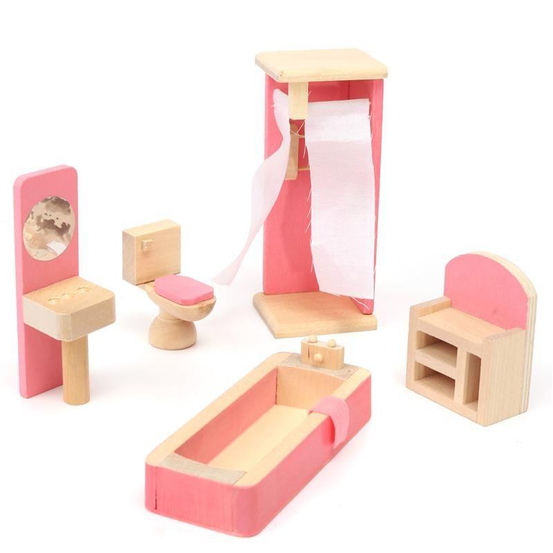 Mini Children Wooden Doll House Furniture Kids Bedroom V3E5