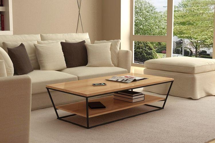 Muebles de hierro retro pino mesa de centro de madera for Muebles estilo moderno minimalista