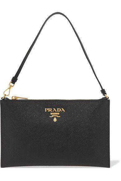 41a3e06fdbcf PRADA classy Textured-leather pouch | Handbags I Covet | Prada ...