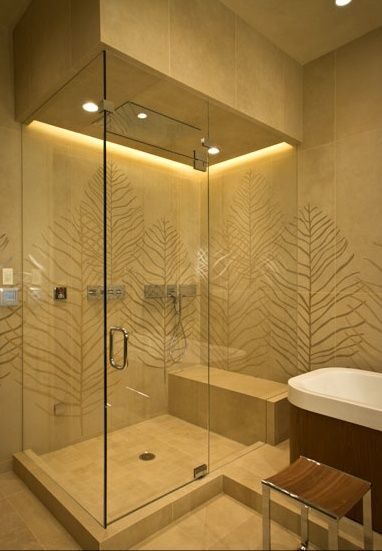 beautiful shower uses waterproof warm white led strips as
