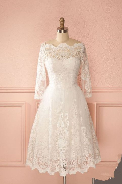 Lace Wedding Dresses Elegant Bridal Gowns New White Knee Length