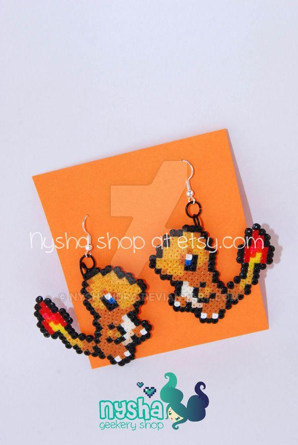 Charmander Pokemon earrings pixel hama beads by Nyshandra.deviantart.com on @DeviantArt