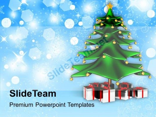 Holidays Winter Christmas Tree With Gifts Background Powerpoint - christmas powerpoint template