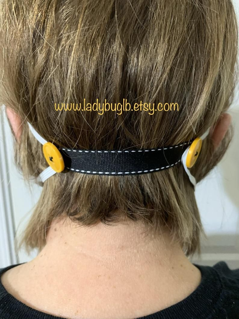 Photo of Ribbon ear loop extender for face masks, ear savers, respirator mask extension