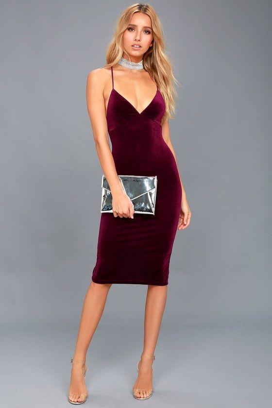 169105febfc8 In Vogue Burgundy Velvet Bodycon Midi Dress | Fall/ Winter Style ...