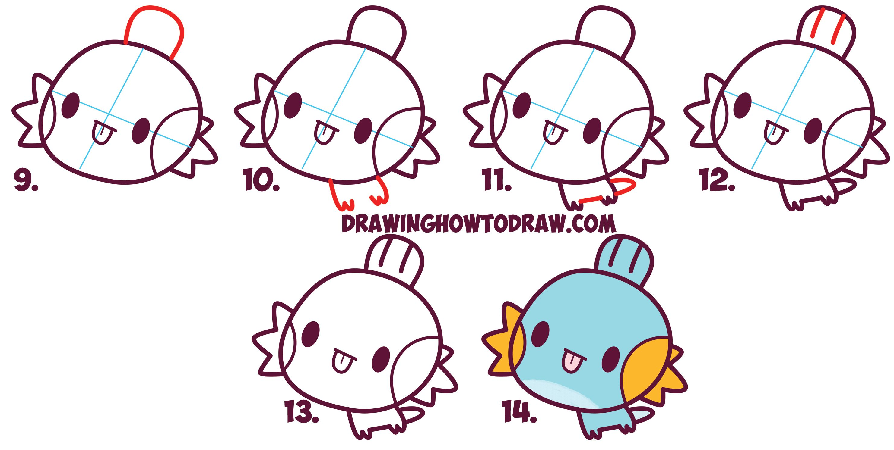 How to Draw MudKip from Pokemon (Cute / Chibi / Kawaii) Easy Step by ...
