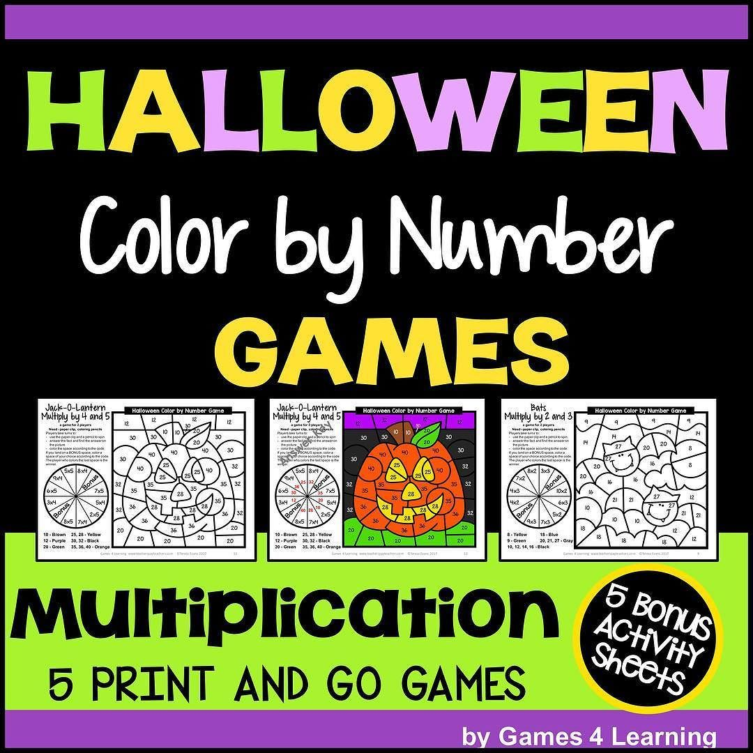 Halloween Color By Number Multiplication Games And Bonus