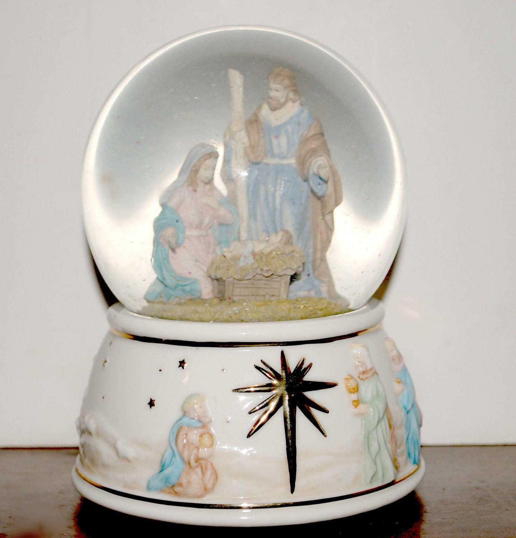 Thomas kinkade o holy night christmas stocking - Musical Snow Globes Sale Nativity Music Box Snow Globe O Holy Night Music Globe Christmas